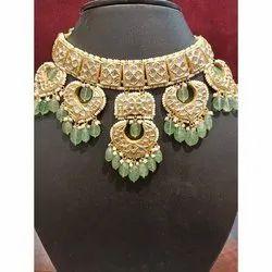 Wedding Wear Golden Shreeji Green Drop Gold Necklace Set