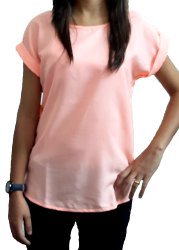 PEACH CASUAL HALF SLEEVES TOP