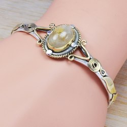 925 Sterling Silver And Brass Unique Jewelry Crystal Gemstone Bangle Wb-5859