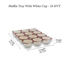 Paper Muffin Tray With White Cup - 24 Kvt