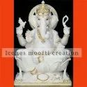 White And Gold Sitting Marble Ganesh Statues
