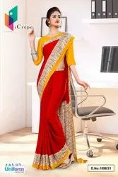 Marron Yellow Gold Plain Border Premium Italian Crepe Uniform Sarees For Front Office Staff
