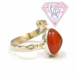 Carnelian Heart Shape Gem Stone Ring with Silver Plated