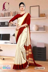 Beige Maroon Gala Border Premium Polycotton CotFeel Saree For Office Uniform Sarees