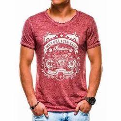 Half Sleeve Cotton/Linen Mens CottonPrinted T Shirt