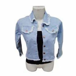 Full Sleeve Blue Ladies Denim Jackets, Size: Large