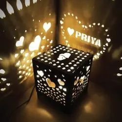 Square Wooden Personalized Lighting Box, For Gifting Purpose, Size: 8 Inch