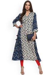 La Firangi Women Blue & Beige Printed A-Line Kurta