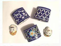 Blue Pottery Brush Holder, Size: 4 Inch