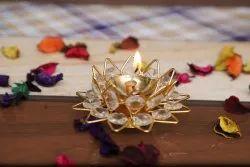Metal Festival Crystal Designer Diya For Puja And Home Decor, For Decorative Diyas, Packaging Type: Loose