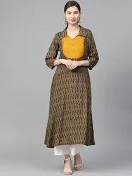 La Firangi Women Charcoal Grey & Mustard Yellow Printed A-Line Kurta