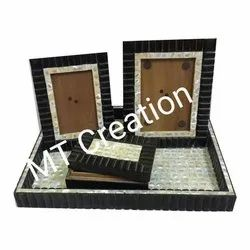 Wooden Mother Of Pearl Photo Frame, For Decoration