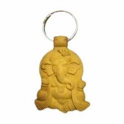 Brown Lord Ganesh PU Keychain, Packaging Type: Packet