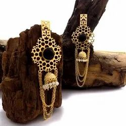 GOLD PLATED LONG JHUMKA EARRING