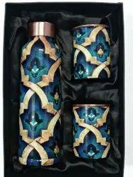 Leak Proof Printed Copper Bottle Glass Set, Capacity: 950 Ml