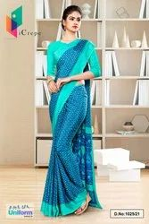 Blue Sea Green Small Print Premium Italian Silk Crepe Saree For Jewellery Showroom