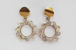 Alloy Earrings Designer American Diamond Earring, S-Hook