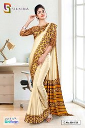 Beige Yellow Printed Blouse Concept Polycotton Raw Silk Saree For Receptionist Uniform Sarees