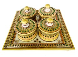 Nirmala Handicrafts Marble Sindoor Dibbi Set Gold Stone Multicolor Work Decorative Item Set