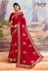 Red Color Vichitra Silk Saree