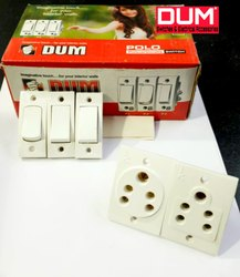 6 Amp White Dum Ultra Urea Electrical Switch Board, For Electric Fittings, 2 Socket