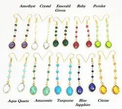 Garnet Gemstone Long Drop Earring, Birthstone Earring
