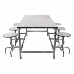 Daksh International Silver Ss Steel Cafeteria Table, Seating Capacity: 8, Size: 8x2