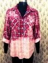 Women Bleached Flannel Button Down Shirt With Pockets