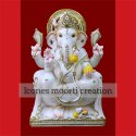 Gold Lining Marble Ganesh Statues