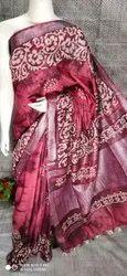Cotton Slub Hand Block Printed Saree, 6.3 M (with Blouse Piece)