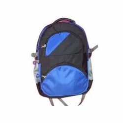 Blue And Black Fancy Polyester College Bag