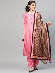 La Firangi Women Pink Solid Silk Kurta With Palazzos & Dupatta