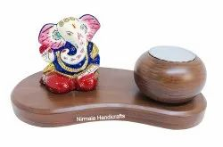 Metal Handicrafts Ramayan Ganesha Statue With Candle & Pawti Stand Gifted Decorative Showpiece