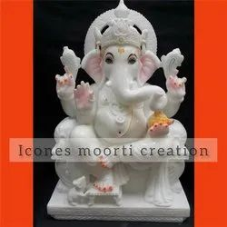 Glossy Finish Marble Ganesh Statues