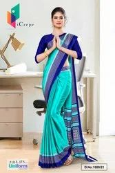 Sea Green Navy Blue Premium Italian Silk Crepe Saree For Employees Uniform Sarees