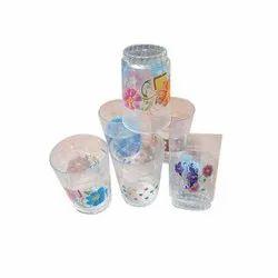 Ganesh M Transparent Fiber Printed Water Glass Set, For Home, Capacity: 150 Ml