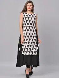 La Firangi Women Black & White Printed Straight Kurta