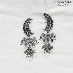 Black Metal Kundan Earrings