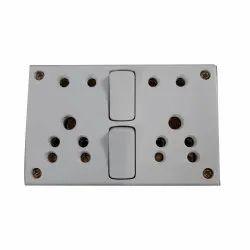 Plastic 2 Switch Electric Switch Board, Finishing Type: Matte Finish, 4