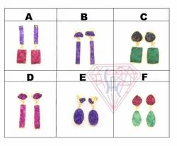 Stylish Design In Stud Gemstone Earring With Gold Polish
