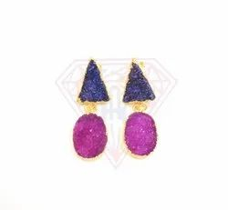 Druzy Gemstone With Gold Plating And Stylish Blue and Pink Colour