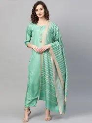 La Firangi Women Green & Beige Pure Silk Solid Kurta With Palazzos & Dupatta