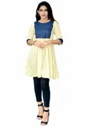 Crepe Casual Wear Beige Modern Ethnic Kurti with Golden Buttons, Wash Care: Machine wash
