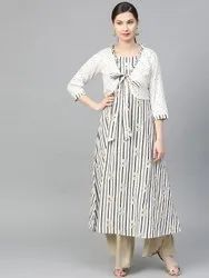La Firangi Women Off-White & Grey Striped A-Line Kurta with Ethnic Jacket