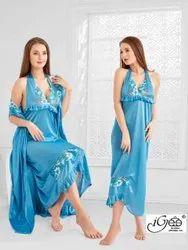 Plain Multicolor Satin Nightwear