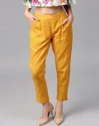 Punay Solid Cotton Pants Ladies Cotton Slub