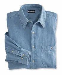 Cotton Plain Denim Men Shirts