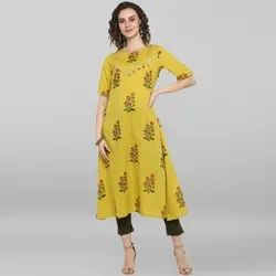 Janasya Women's Lemon Yellow Pure Cotton Kurta(J0035)