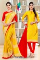 Yellow Red Premium Italian Silk Crepe Uniform Sarees For School Teachers