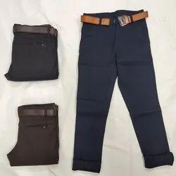 Casual Wear Plain Kids Regular Fit Trouser, Handwash